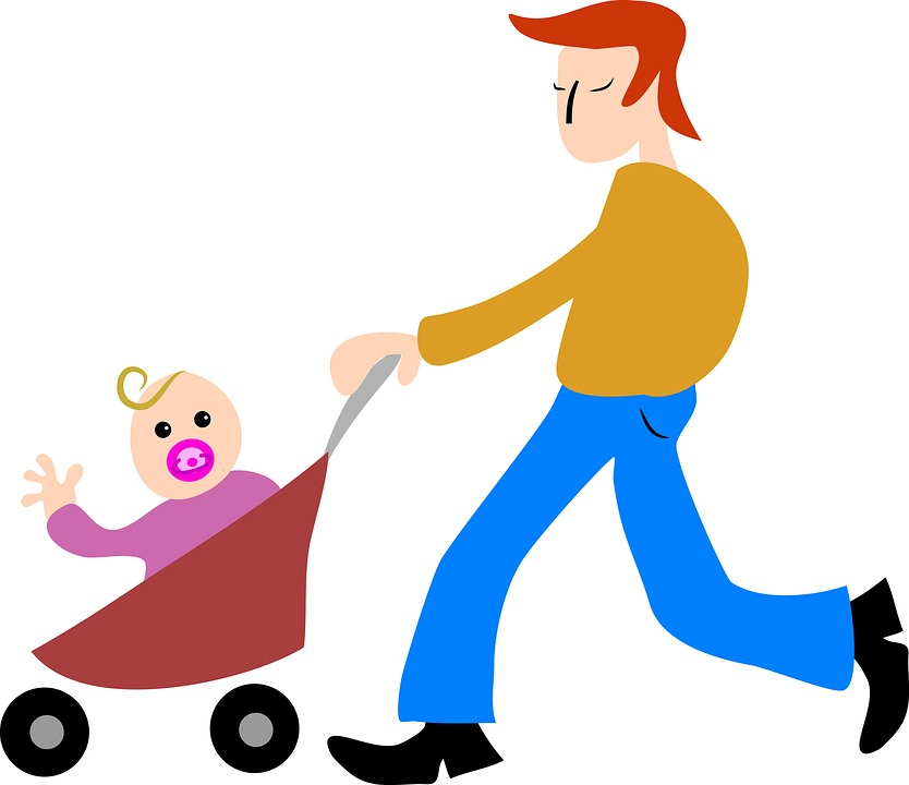 cartoon - dad with baby